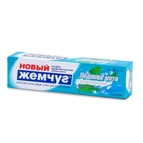 НОВЫЙ ЖЕМЧУГ Зубная паста Ледяная мята+отбеливание 100 мл (40)